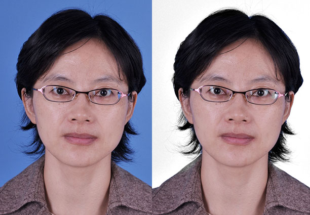 ps应用图像命令快速给彩色证件照背景换成白色教程