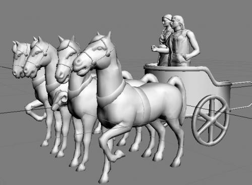 人拉马车-人物模型,游戏模型