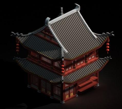 古建筑-人物模型,游戏模型, 动物插件, 模型下载尽在