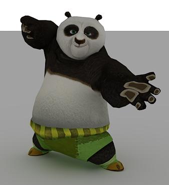 功夫熊猫带骨骼和动画-人物模型