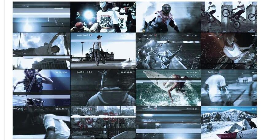 ae模板 多屏幕电视信号损坏故障效果视频模板 ae素材