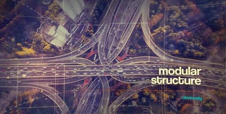 [ae模板] 现代化城市建筑风景数字符线性元素视觉差幻灯片模版