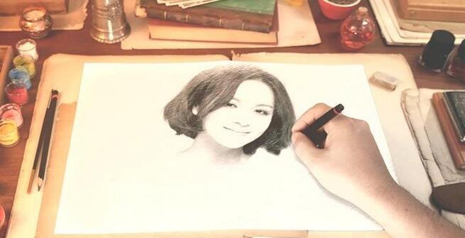 甜蜜唯美手绘图像素描爱情