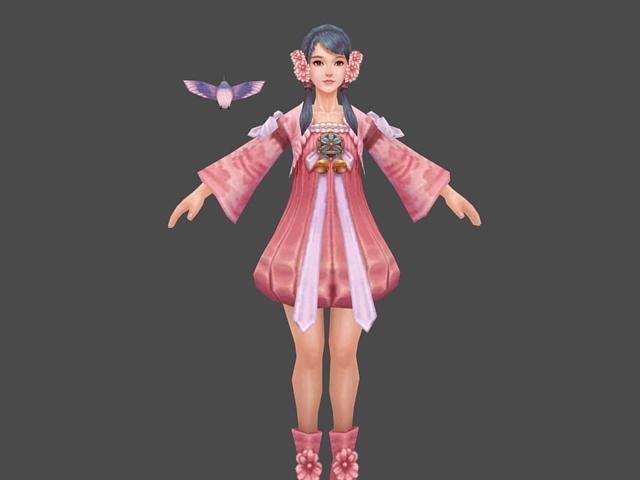 粉色衣服的小女孩模型3d模型