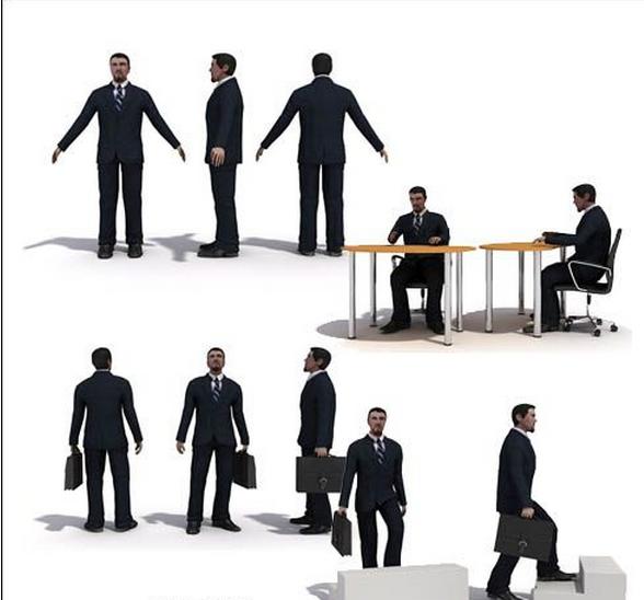办公室男士人物模型