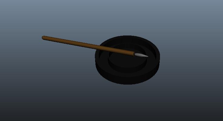 [模型] 毛笔砚台