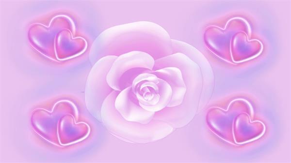 粉色爱心浪漫旋转玫瑰动态led背景视频素材