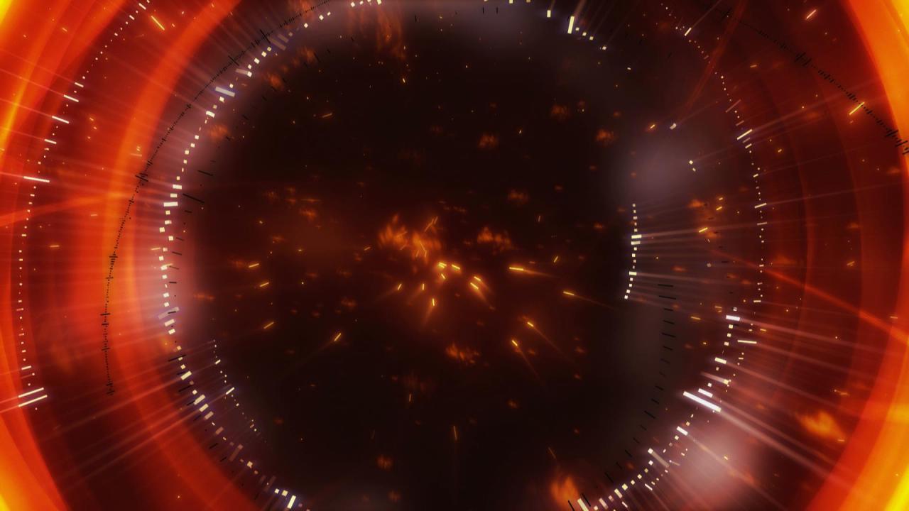 超炫火红光效粒子高清动态背景视频素材