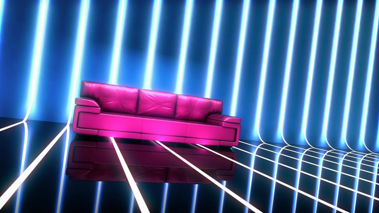 玫红时尚沙发灯管舞台led背景高清视频素材