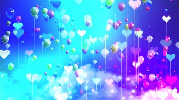 心形气球上升云雾飘浮绚丽背景儿童节背景视频素材