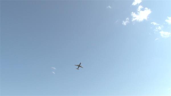 清新阳光仰望飞机天空飞翔划过地平面观看飞机高清视频实拍