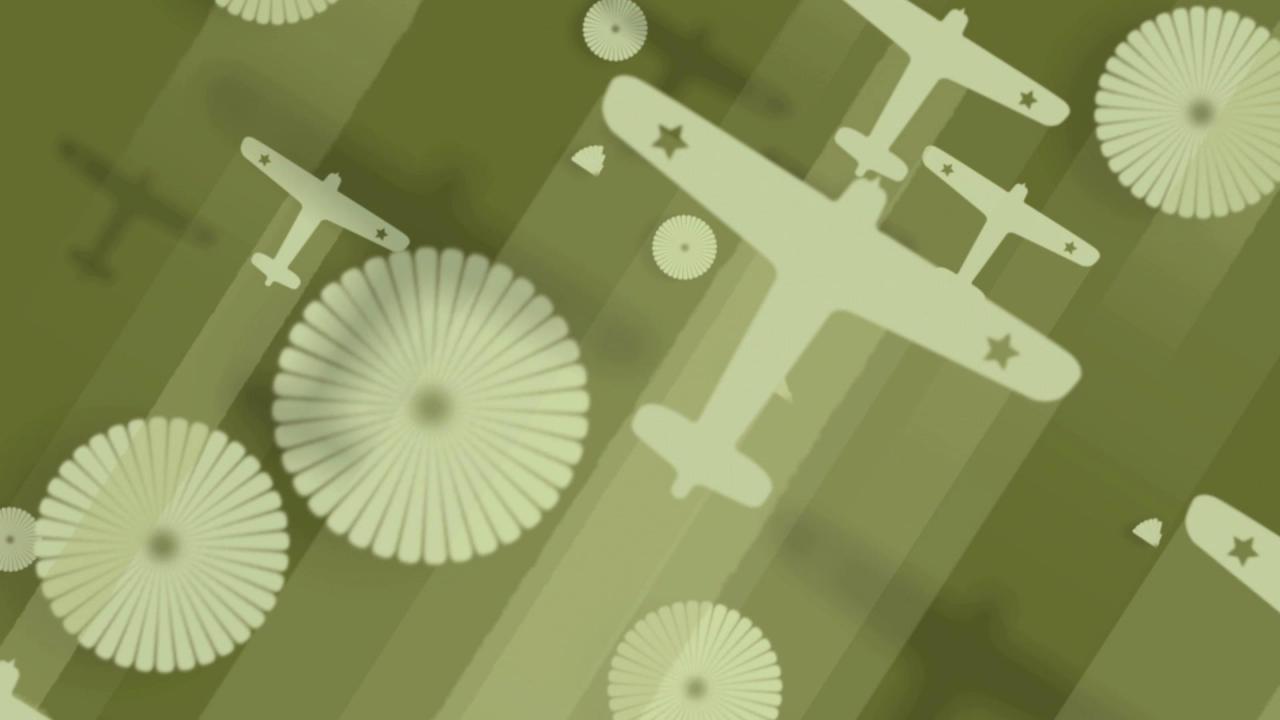 飞机飞过圆圈伞高清背景视频素材