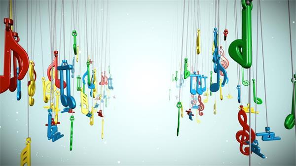 可爱三维悬挂旋转音符动态led背景视频素材