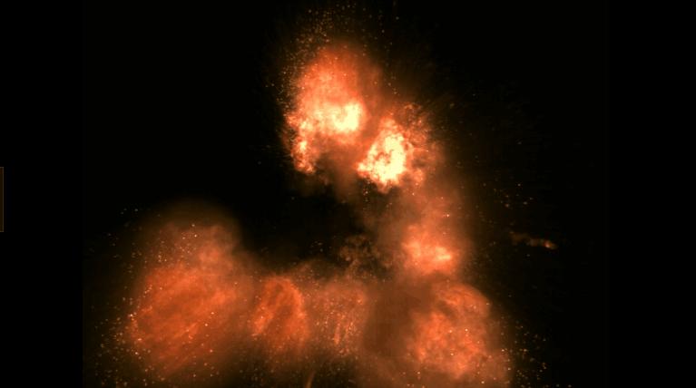 火球带动火光粒子标清动态背景视频素材