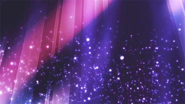 梦幻般星空光效粒子飘浮多彩射线运动舞台背景视频素材