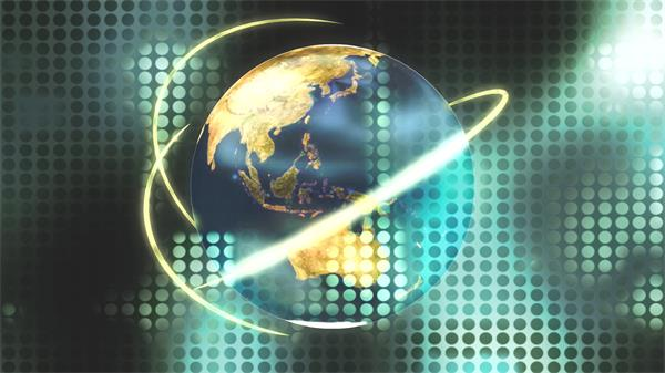 时尚科技地球旋转金色条形围绕镂空圆形排版背景视频素材