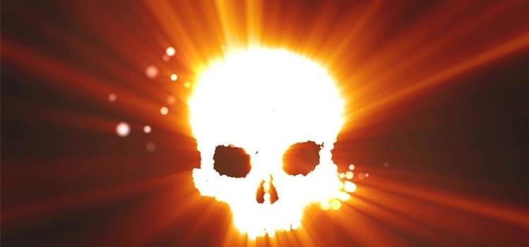 火焰炫光骷髅头散发光斑粒子led动态背景视频素材
