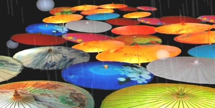 雨天七彩缤纷油纸伞led动态背景视频素材