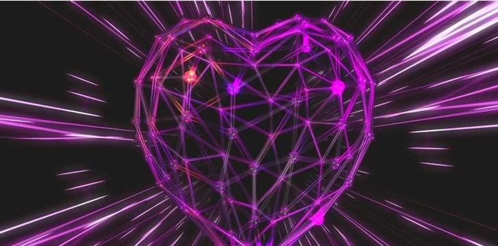 浪漫紫色爱心炫光线条穿梭婚礼婚庆led动态背景视频素材