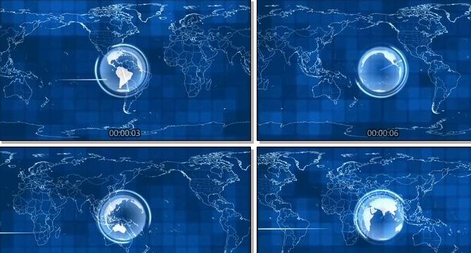 世界地图地球旋转雷达扫描led动态背景视频素材