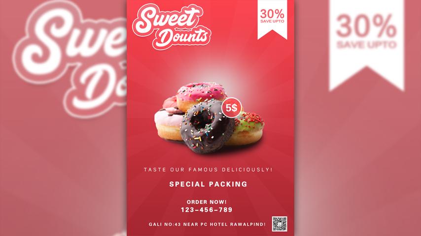 ps简单快速美食甜甜圈促销海报设计_ps教程_直线网_最