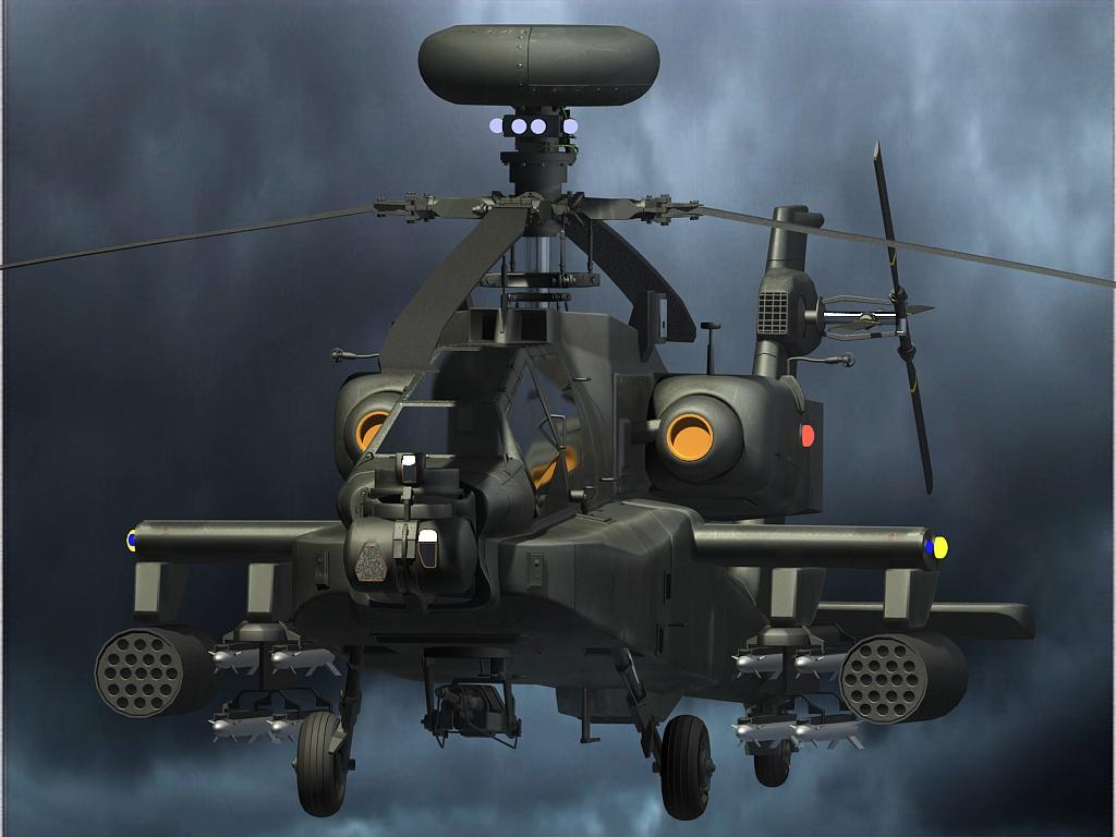 【原创】 【新手学习max做的阿帕奇直升机~】