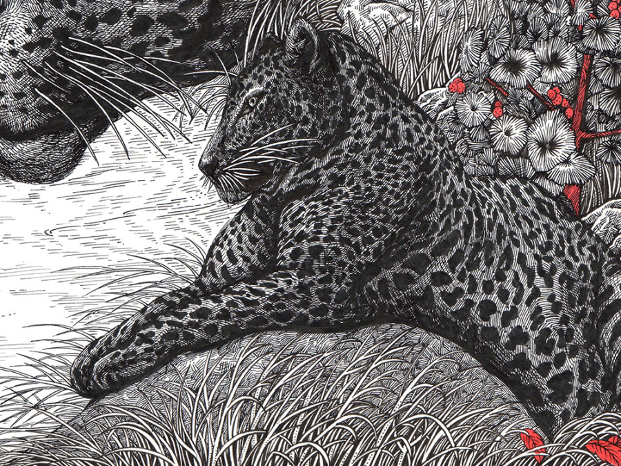 【原创】 【转载:《豹变岩》 装饰画 手绘过程】