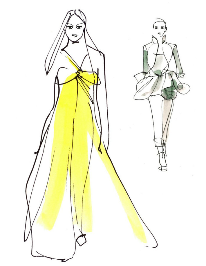 转载:国际服装品牌设计绘画艺术手稿