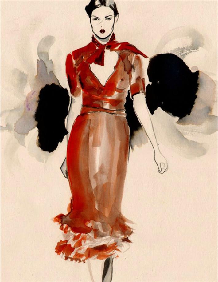 针织服装系列效果图 手绘系列服装效果图