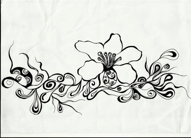 """【原创】 【转载:手绘黑白画""""花""""还是爱花】  1 路过 7 鲜花"""