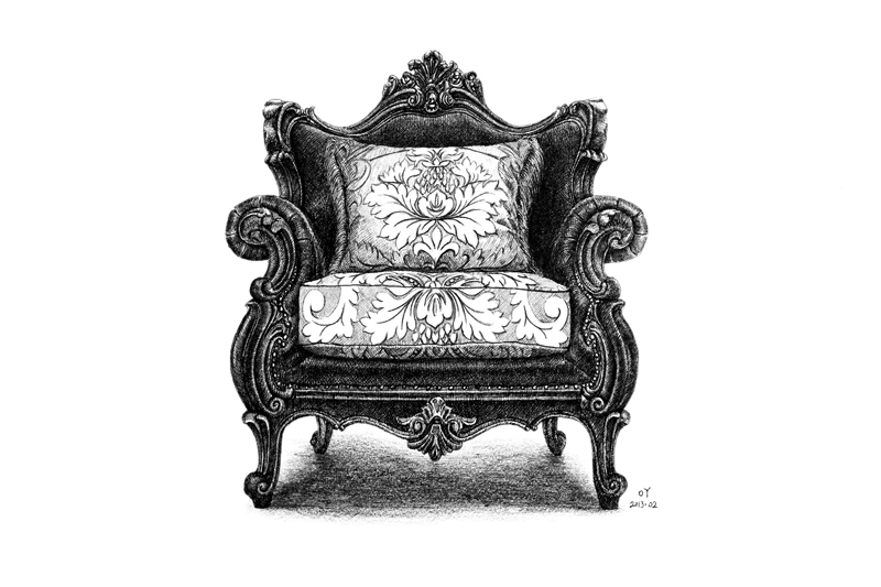 椅子设计图手绘 彩铅