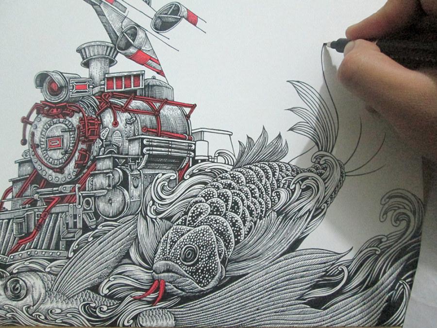 《飞鱼&火车头》 纸本手绘 尺寸:31*31cm 工具:宝克秀丽笔(小楷),红色