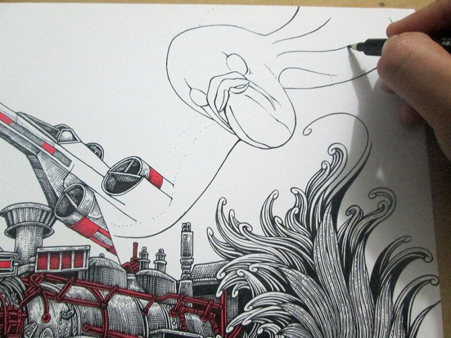 保护海洋创意手绘