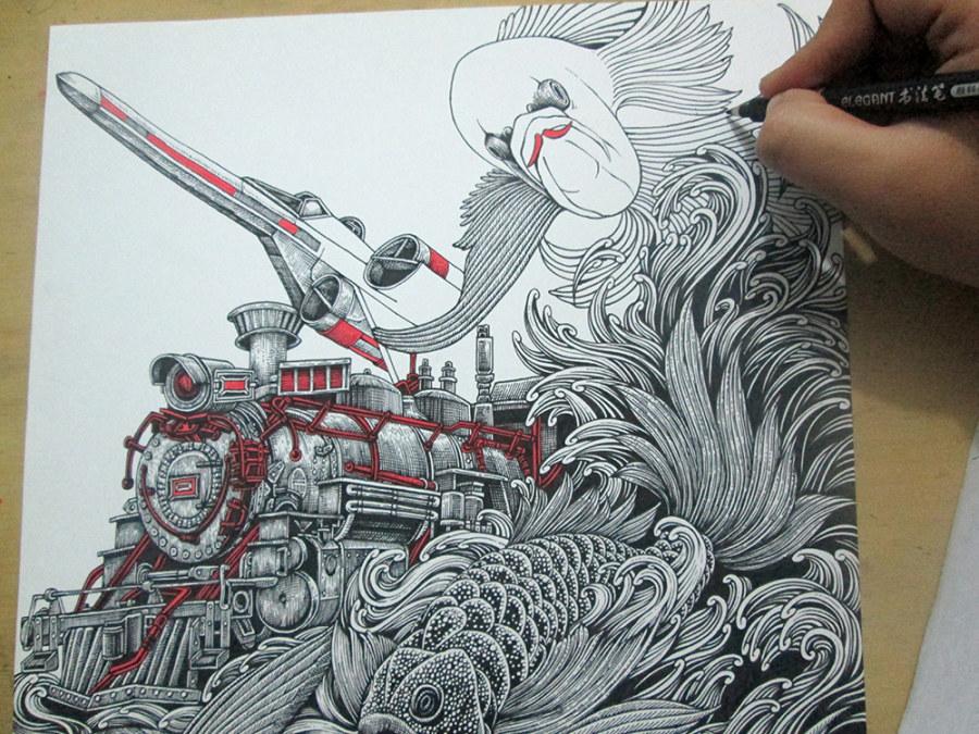 转载:《飞鱼&火车头》 装饰画 手绘过程