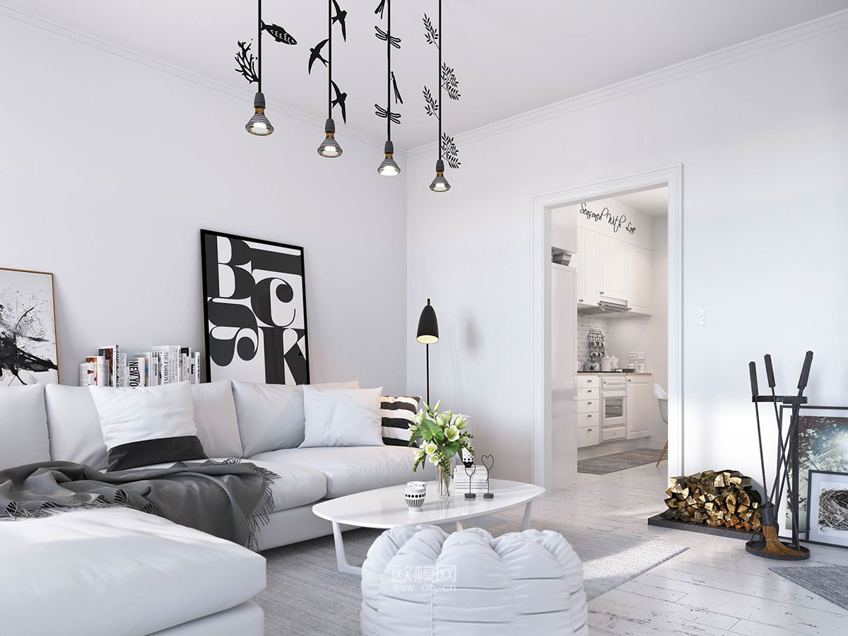 北欧风的空间,总是在任何时刻都可以给人带来温暖与惬意。 设计师纯净的素色调为基底,搭配同色系的沙发,白色茶几,灰色织物地毯,营造出最为简洁的北欧风,客厅中央悬挂着的吊灯,非常的令人惊艳,必不可少的黑白装饰画和丰富的靠垫增添空间的格调,设计师保留了传统的陶瓷壁炉,燃烧的炉火,有些斑驳的白色木质地板,带来温暖,自然的气息。